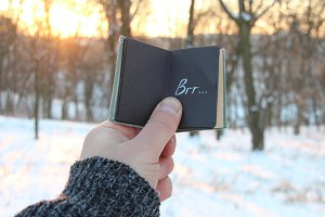 Winter idea. Book and text Brr.