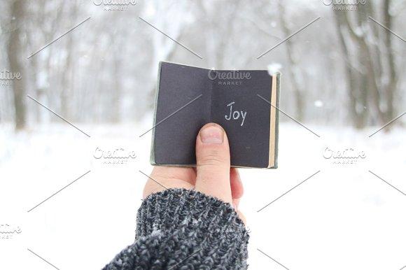 Joy Christmas Or Winter Idea Vintage Book With Inscription