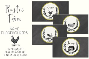 Rustic Farm Table Card Placeholders