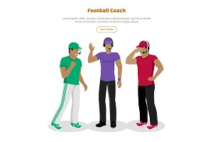 Football Coaches Web Banner Cartoon Soccer Referee