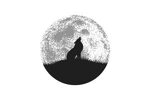 Silhouette of howling wolf on full moon background