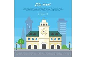 City Street Flat Style Vector Banner