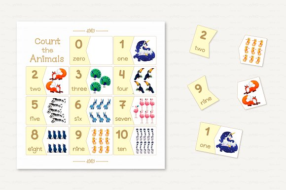 Vector English Counting Cards