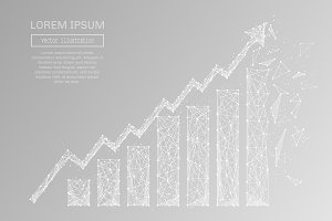 growth chart low poly white