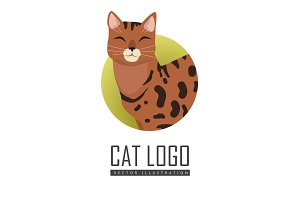 Bengal Cat Vector Flat Design Illustration