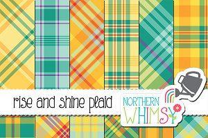 Summer Plaid Patterns: Teal & Yellow