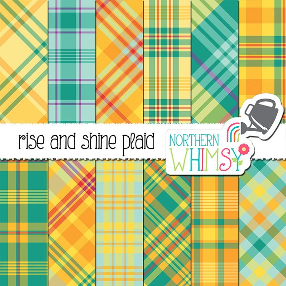 Summer Plaid Patterns Teal Yellow