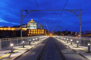 Dom Luis I bridge in Porto at night, Portugal.