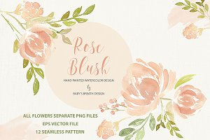 Watercolor Rose Blush design pack
