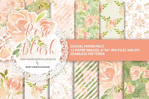 Watercolor  Rose blush DP pack