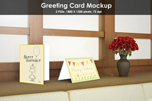 Window side Greeting Card Mockup