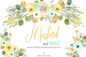 Watercolor Mustard and Mint design