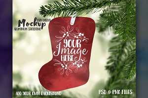 Stocking shaped ornament mockup