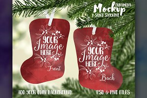 Two Sided Stocking Ornament Mockup