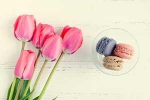 Pink Tulips and macaroons