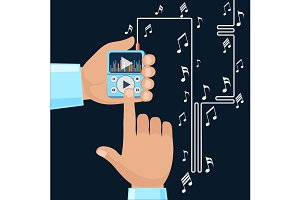Playing music in Mp3 player hands