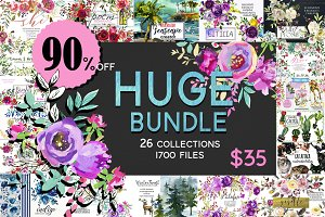 Watercolor Floral Graphic Bundle