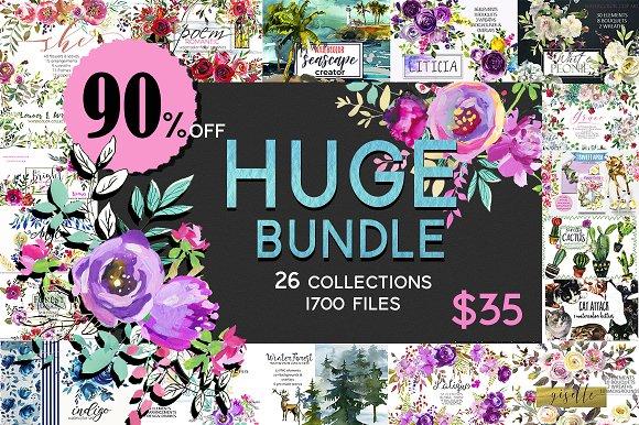 Watercolor Floral Graphic Bundle