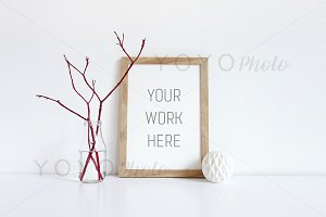 A4 Wooden Frame Stock Photo