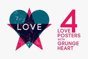 Grunge Love Heart abstract poster.