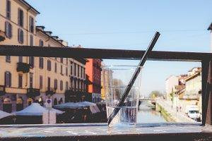 Naviglio Grande Milan, faded vintage look
