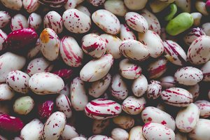 Crimson beans legumes vegetables, faded vintage look