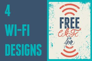 Wi-Fi calligraphic vintage poster.