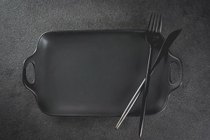 Dinner table with fork and knife