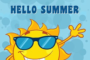 Sun With Text Hello Summer