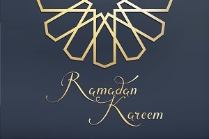 Set for greeting card Ramadan Kareem