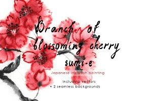Cherry Blossom Branch Sumi-e