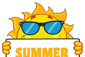 Sun Holding A Sign With Text Summer