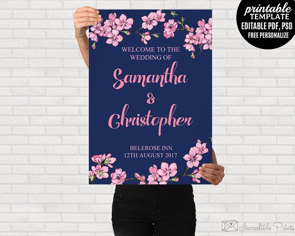 Navy And Pink Wedding Poster