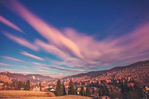 Carpathian cityscape and beautiful sky