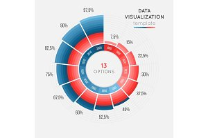 Vector circle chart infographic template for data visualization