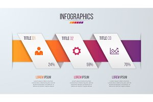 Paper style infographic timeline design template with 3 steps.