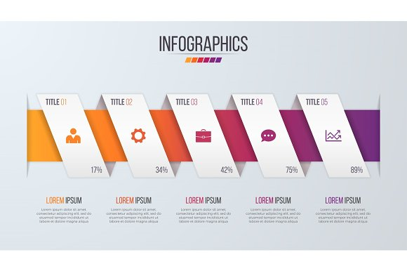 paper style infographic timeline design template with 5 steps