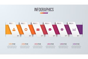 Paper style infographic timeline design template with 6 steps.