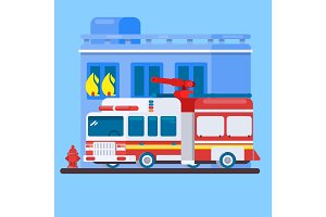 Red Fire Truck or Fire Engine Flat illustration