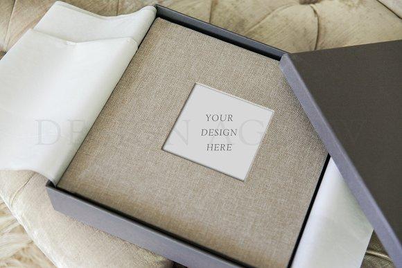 Linen Album Mockup With Box