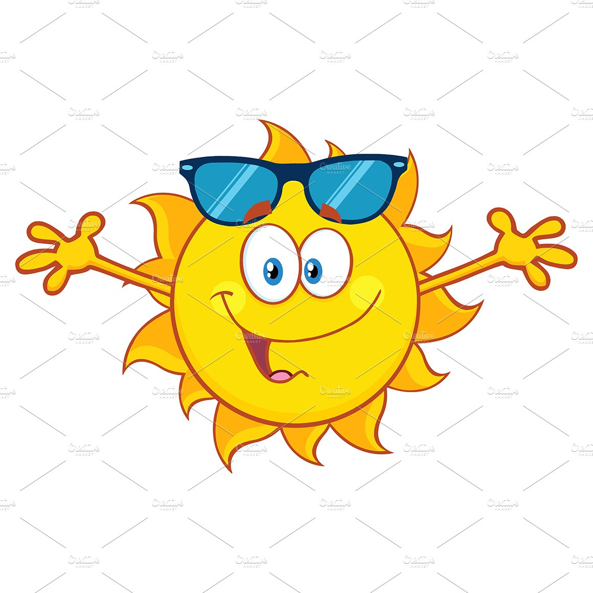 Smiling Loving Sun With Sunglasses ~ Illustrations ...