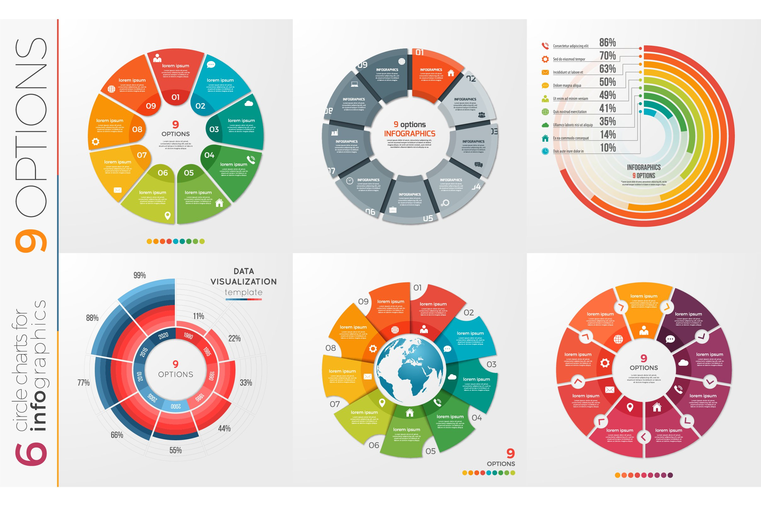 collection of 6 vector circle chart templates 11 options
