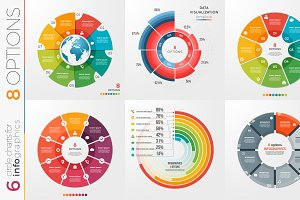 Collection of 6 vector circle chart templates 8 options.