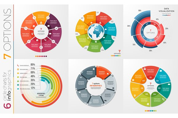 Collection of 6 vector circle chart templates 7 options.