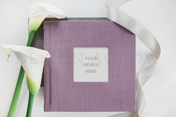 Linen Album Mockup With Flowers
