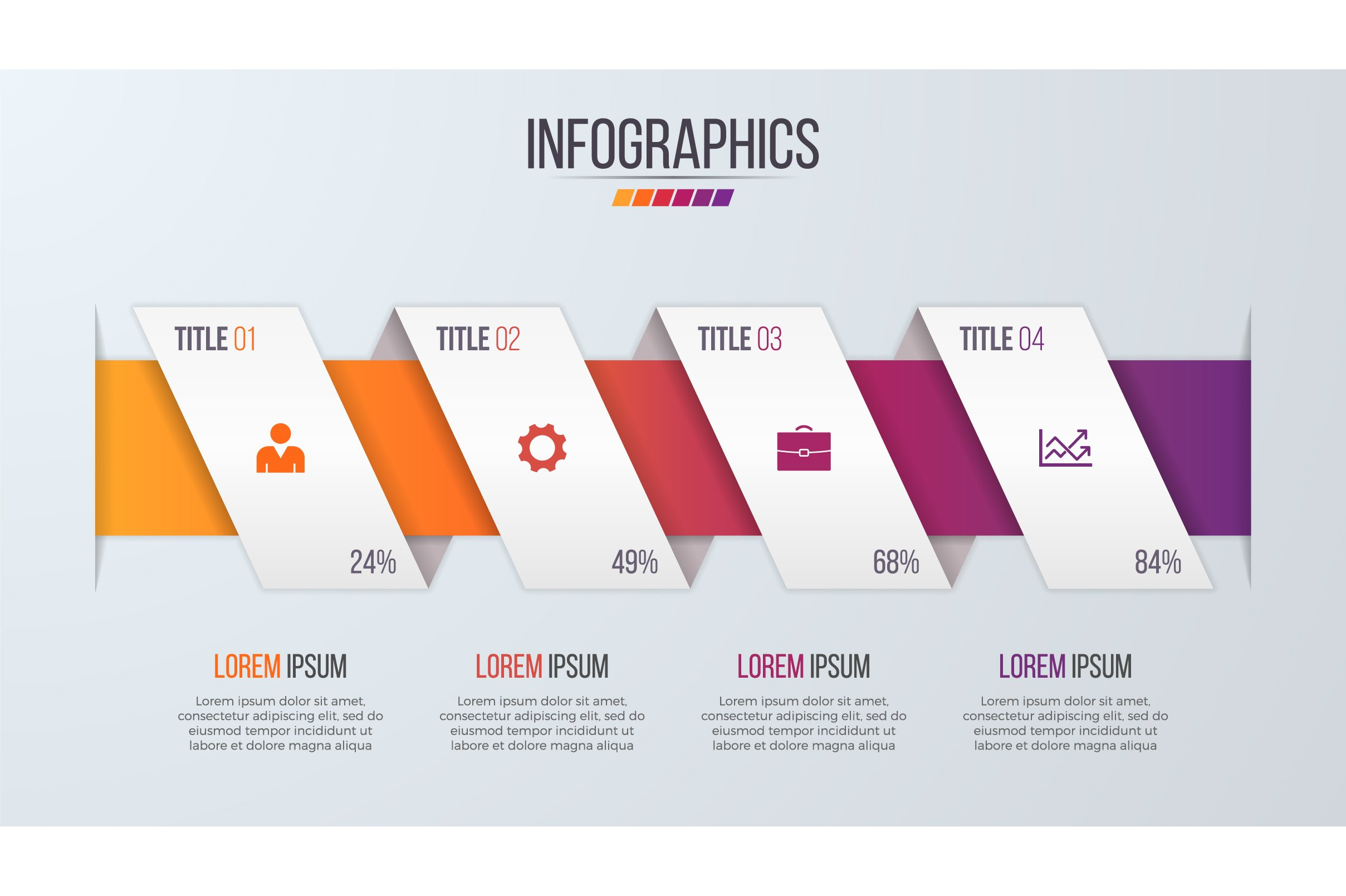 Paper style infographic timeline design template with 4 ...