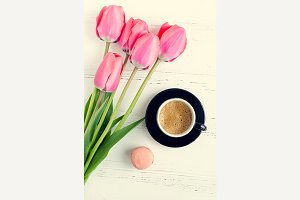 Coffee and flowers Tulips