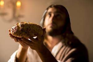 Jesus Christ blessing the bread
