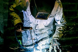 Worker working with welding