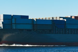 Grey container ship